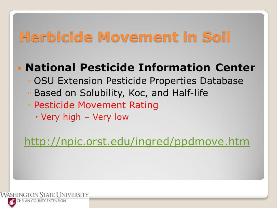 Herbicide Movement in Soil National Pesticide Information Center ◦OSU Extension Pesticide Properties Database ◦Based on Solubility, Koc, and Half-life