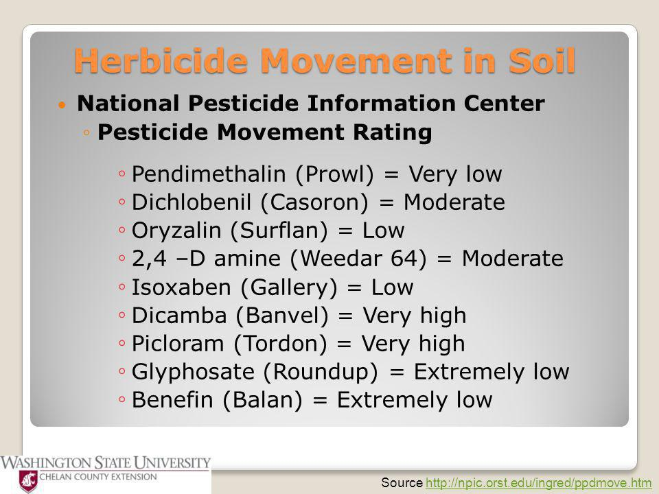 National Pesticide Information Center ◦Pesticide Movement Rating ◦ Pendimethalin (Prowl) = Very low ◦ Dichlobenil (Casoron) = Moderate ◦ Oryzalin (Sur