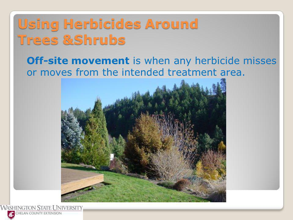 Herbicide Movement in Soil National Pesticide Information Center ◦OSU Extension Pesticide Properties Database ◦Based on Solubility, Koc, and Half-life ◦Pesticide Movement Rating  Very high – Very low http://npic.orst.edu/ingred/ppdmove.htm