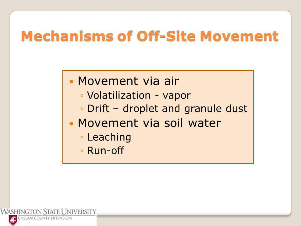 Off-site Movement ~ Volatilization High temperatures + low humidity = gas (vapor) Fumes travel for long distances Herbicide can volatilize right off plant or soil Dependent on molecular weight of herbicide