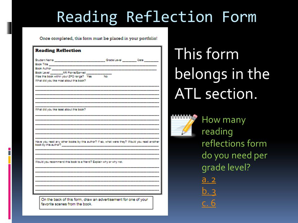 Reading Reflection Form This form belongs in the ATL section.