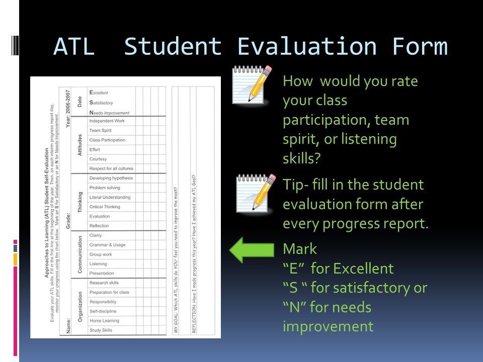 ATL Student Evaluation Form How would you rate your class participation, team spirit, or listening skills.