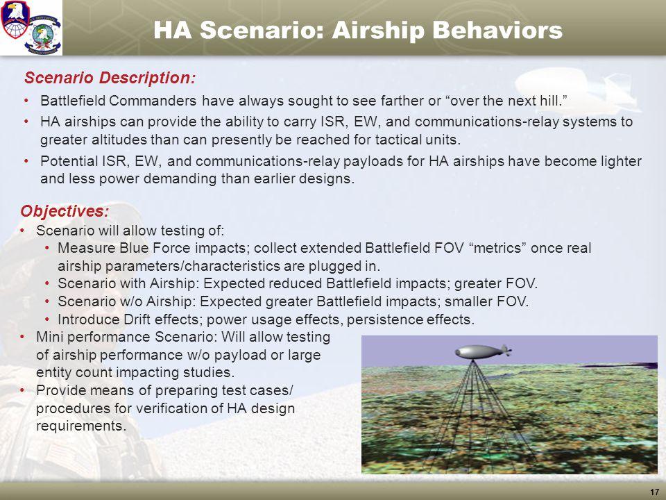 "17 HA Scenario: Airship Behaviors Scenario Description: Battlefield Commanders have always sought to see farther or ""over the next hill."" HA airships"