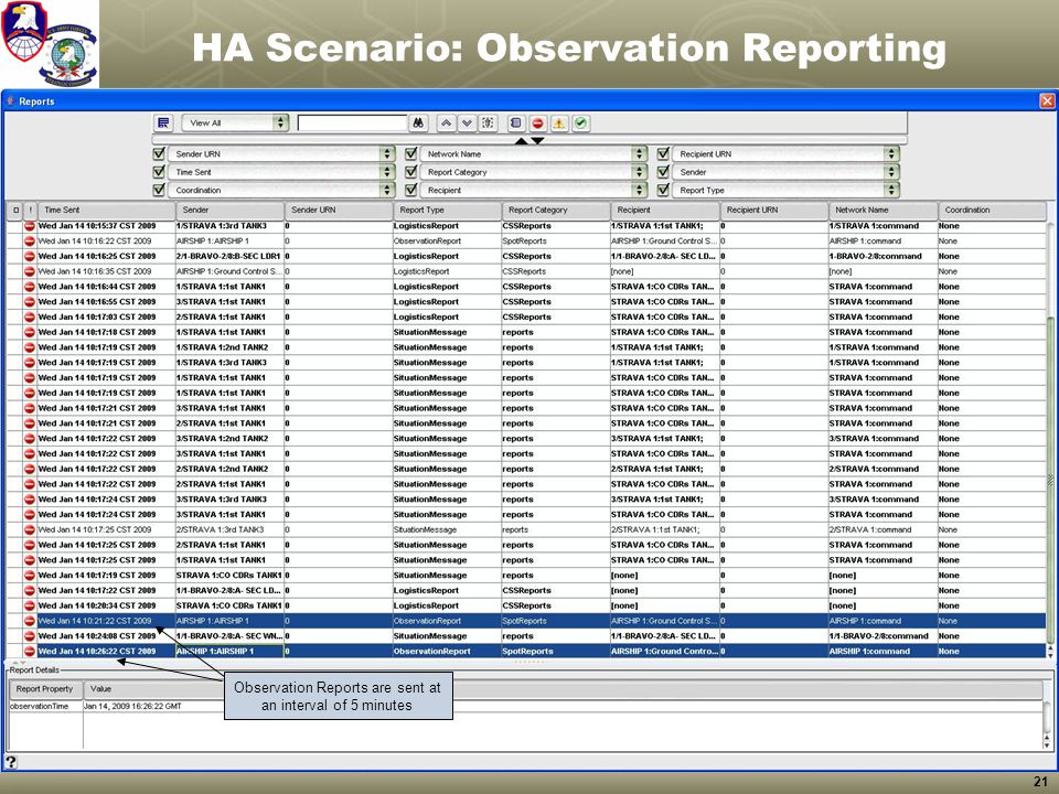 21 HA Scenario: Observation Reporting Observation Reports are sent at an interval of 5 minutes
