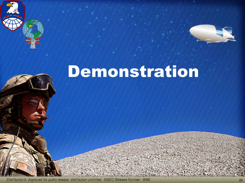 Distribution A: Approved for public release; distribution unlimited. SMDC Release Number: 9096 22 Demonstration