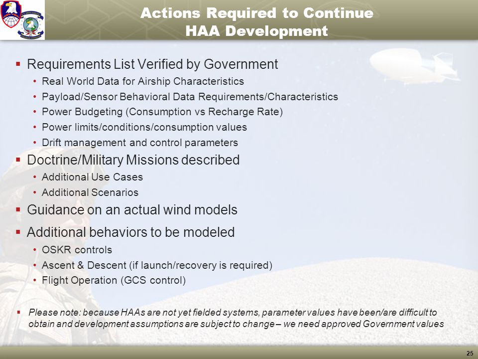 25 Actions Required to Continue HAA Development  Requirements List Verified by Government Real World Data for Airship Characteristics Payload/Sensor