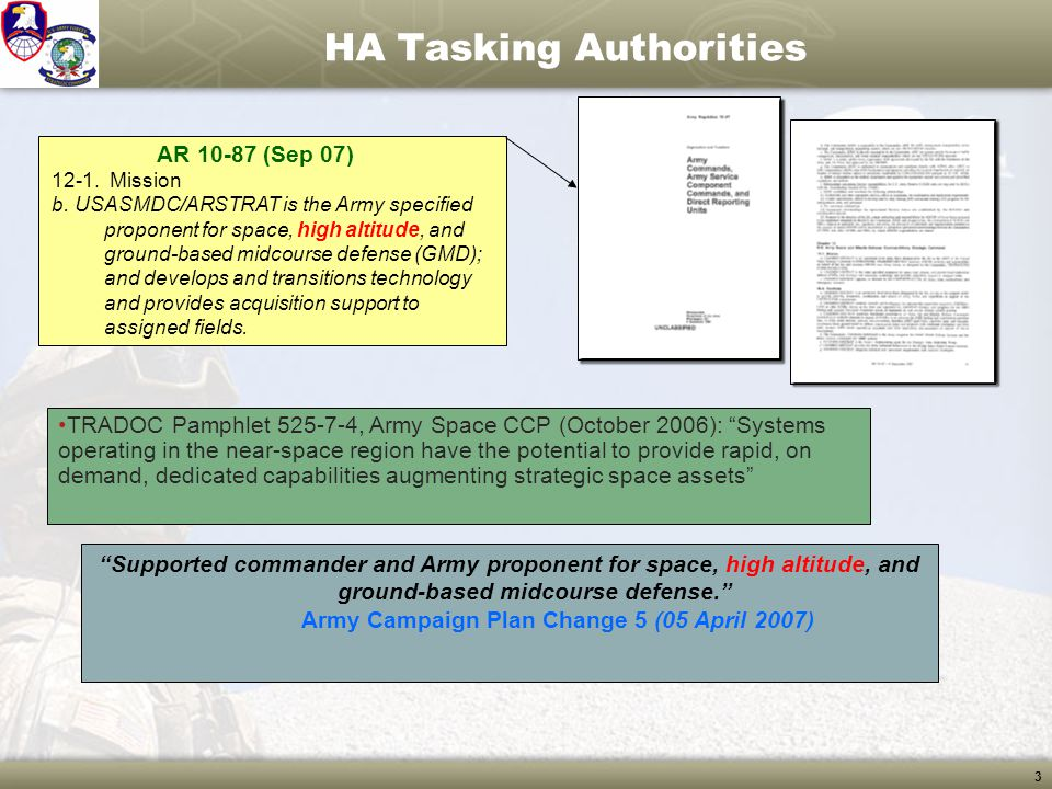 3 HA Tasking Authorities AR 10-87 (Sep 07) 12-1. Mission b. USASMDC/ARSTRAT is the Army specified proponent for space, high altitude, and ground-based