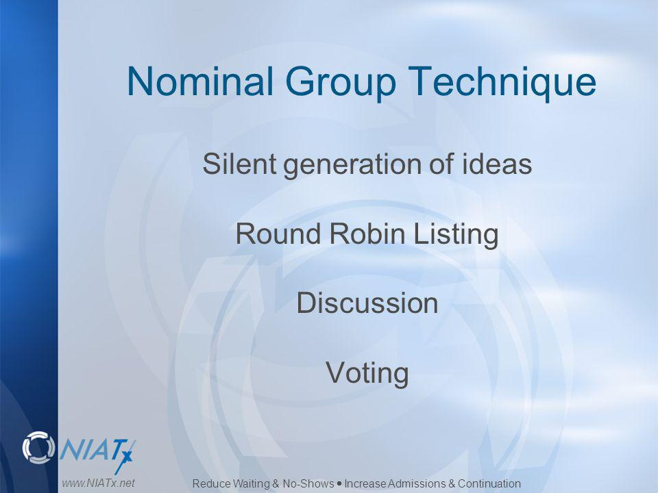 Reduce Waiting & No-Shows  Increase Admissions & Continuation www.NIATx.net Nominal Group Technique Silent generation of ideas Round Robin Listing Di