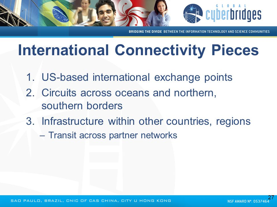 International Connectivity Pieces 1.US-based international exchange points 2.Circuits across oceans and northern, southern borders 3.Infrastructure wi