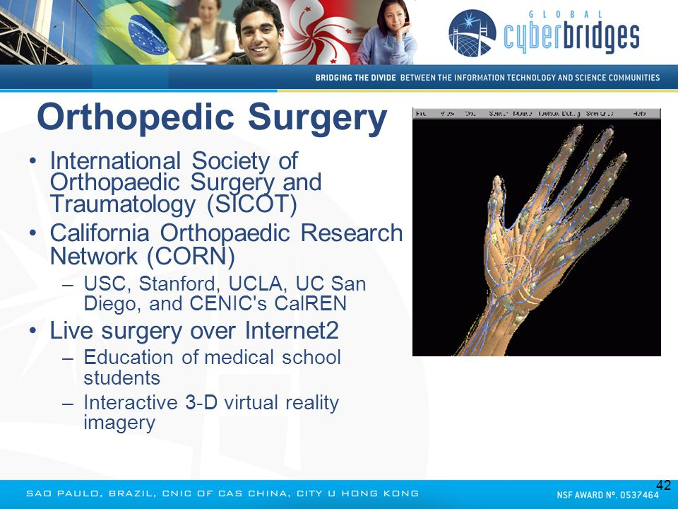 Orthopedic Surgery International Society of Orthopaedic Surgery and Traumatology (SICOT) California Orthopaedic Research Network (CORN) –USC, Stanford
