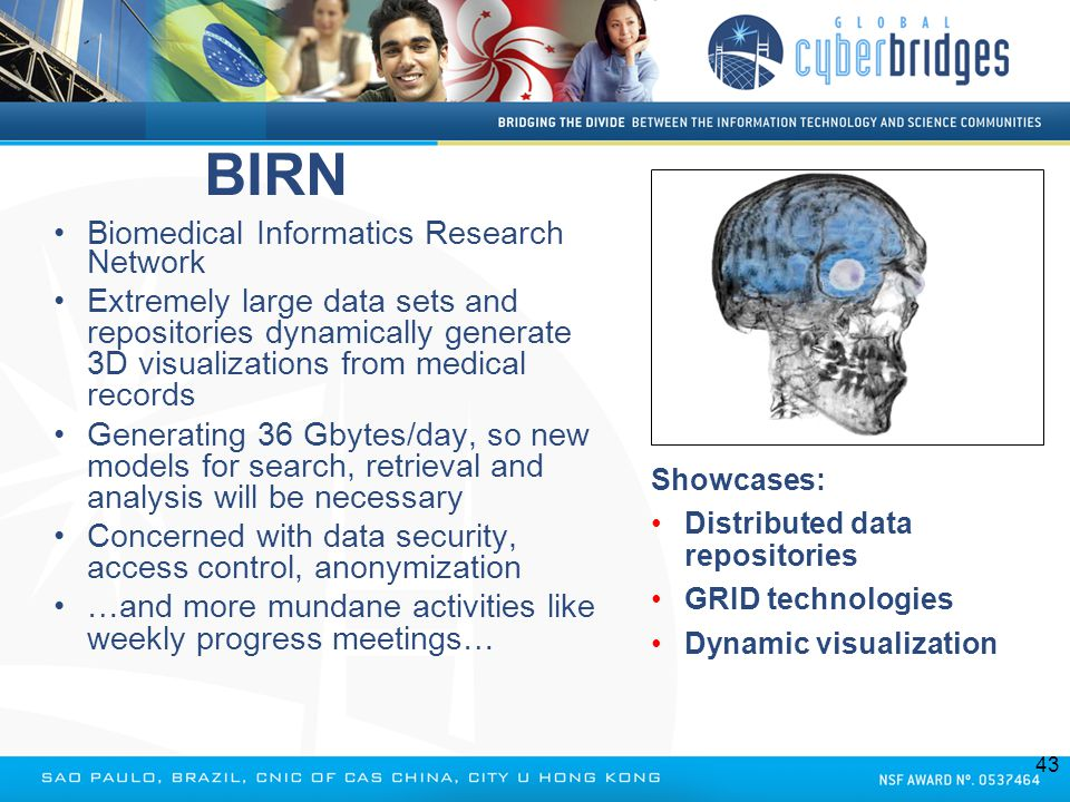 BIRN Biomedical Informatics Research Network Extremely large data sets and repositories dynamically generate 3D visualizations from medical records Ge