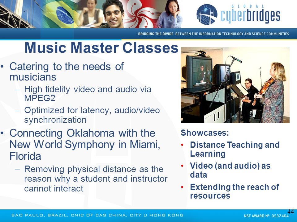 Music Master Classes Catering to the needs of musicians –High fidelity video and audio via MPEG2 –Optimized for latency, audio/video synchronization C