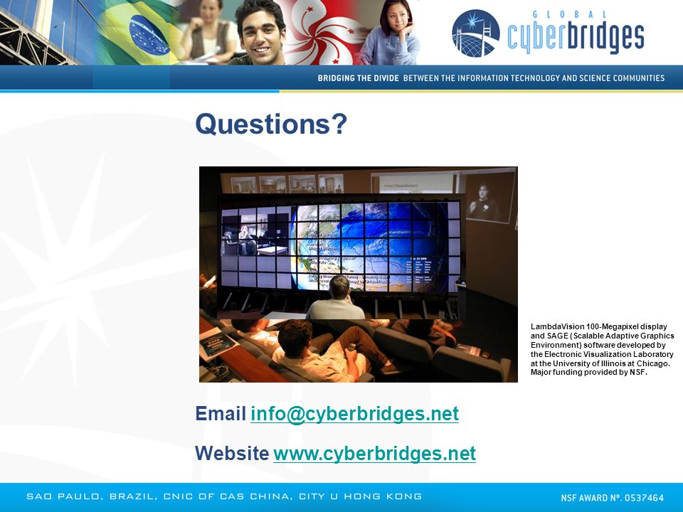 Questions? Email info@cyberbridges.netinfo@cyberbridges.net Website www.cyberbridges.netwww.cyberbridges.net LambdaVision 100-Megapixel display and SA
