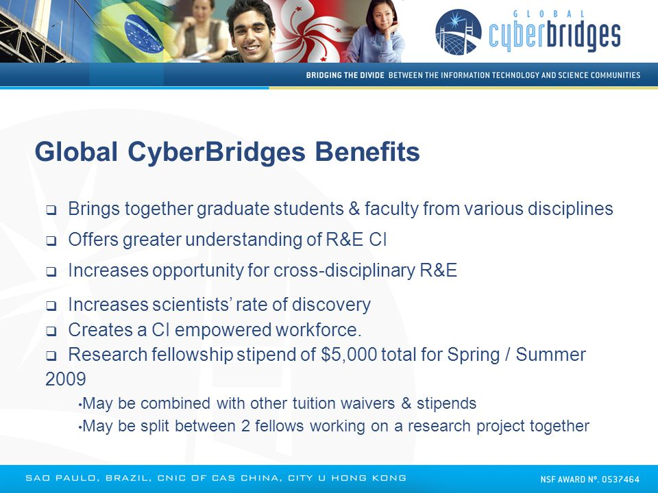  Brings together graduate students & faculty from various disciplines  Offers greater understanding of R&E CI  Increases opportunity for cross-disc