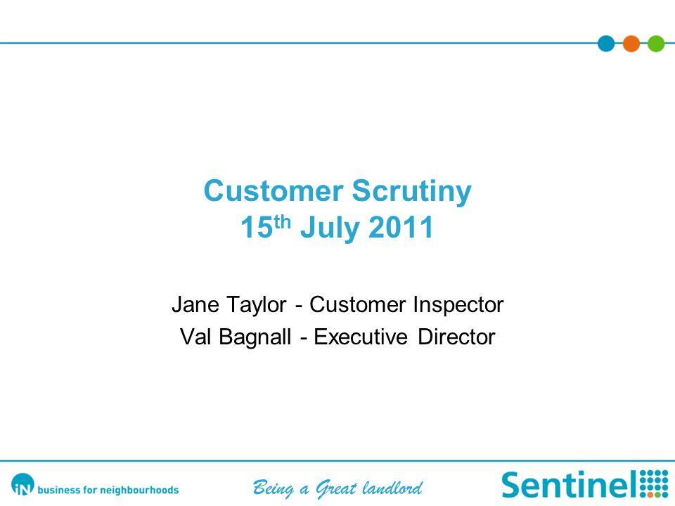 Scrutiny –Involvement 85% satisfied that views taken into account Five Customer Representatives on Board Sentinel Tenants & Residents Association (STARA) Hampshire & Districts Residents Forum – all key housing providers working together to deliver Involvement Standard for Hampshire Achievement of Customer Excellence Standard Customer Inspectors Development of joint Customer Inspector team: Sentinel/Kingfisher Sovereign/ Testway HA Disability Forum Interviewing of all frontline staff Residents Week Random checking of Complaints handling Review of Service Improvement Plan