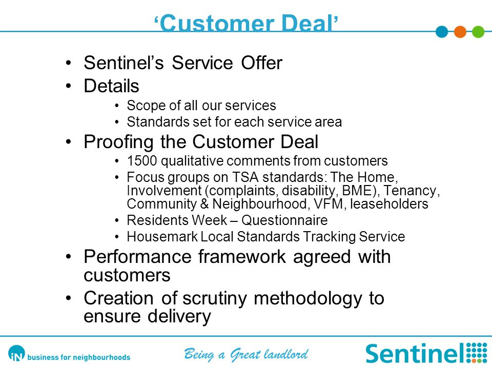 Proofing & developing our Customer Deal