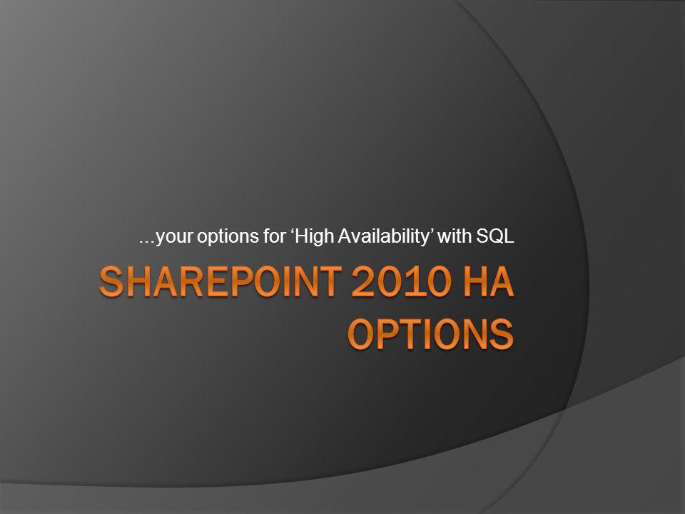 Management needs to know…  SharePoint DR is an extensive topic.