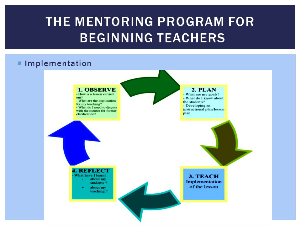  Implementation THE MENTORING PROGRAM FOR BEGINNING TEACHERS