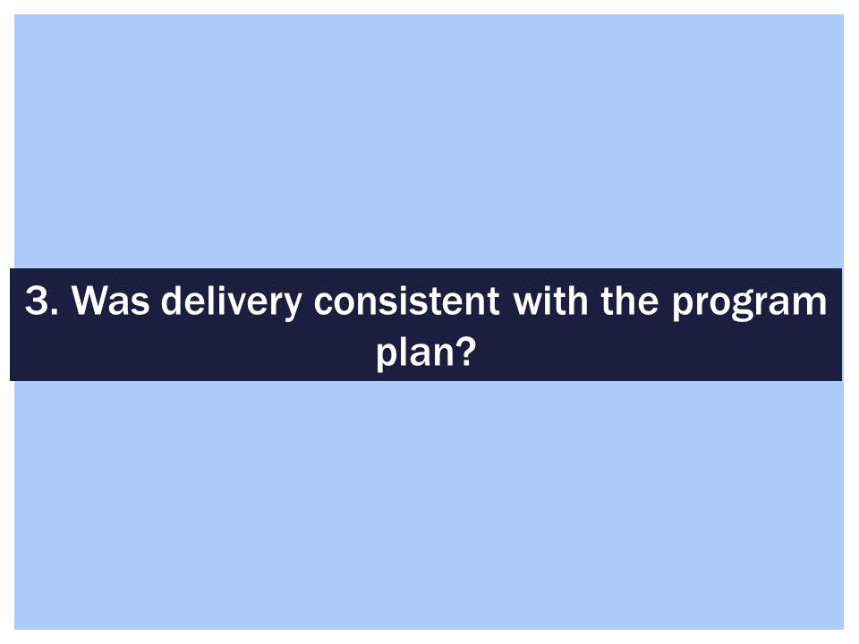 3. Was delivery consistent with the program plan