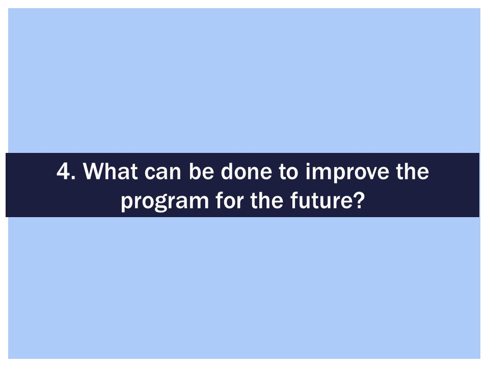 4. What can be done to improve the program for the future