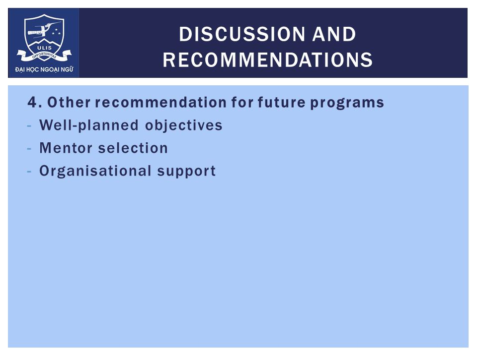 4. Other recommendation for future programs -Well-planned objectives -Mentor selection -Organisational support DISCUSSION AND RECOMMENDATIONS