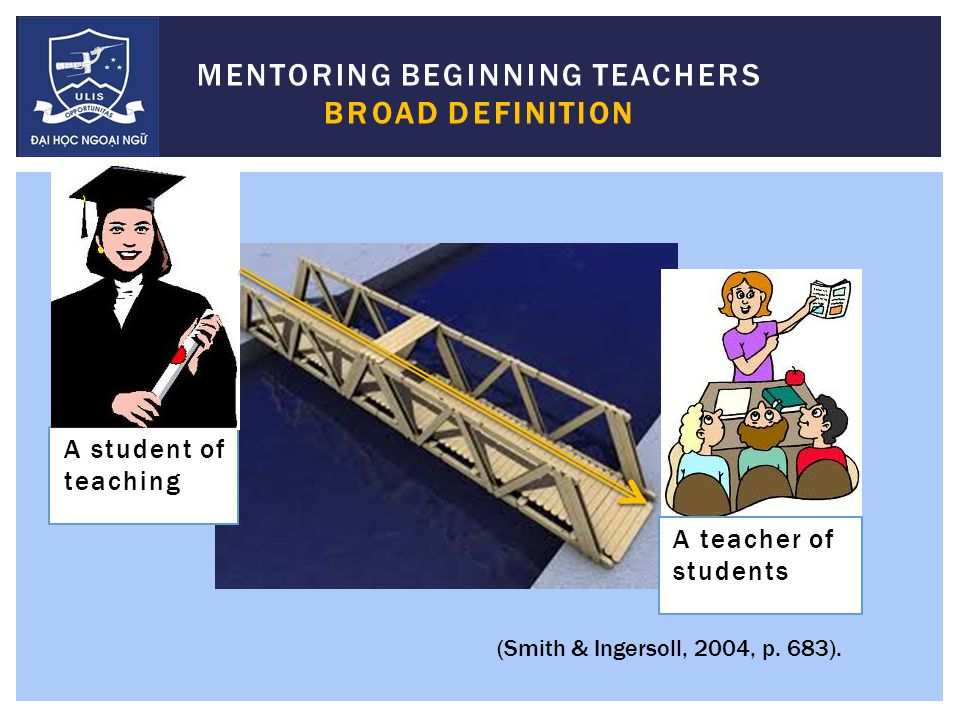 MENTORING:  professional and emotional one-to-one support provided by a veteran teacher to a beginning teacher  primary purpose is to assist the development of the mentee's expertise and to facilitate their induction to the culture of the profession … and into the specific local context (Hobson, Ashby, Malderez, & Tomlinson, 2009, p.