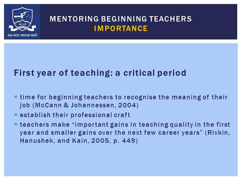 Implementation THE MENTORING PROGRAM FOR BEGINNING TEACHERS