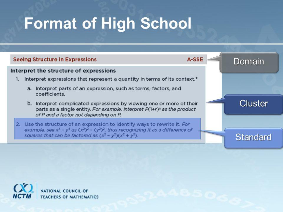 Format of High SchoolDomainDomain ClusterCluster StandardStandard