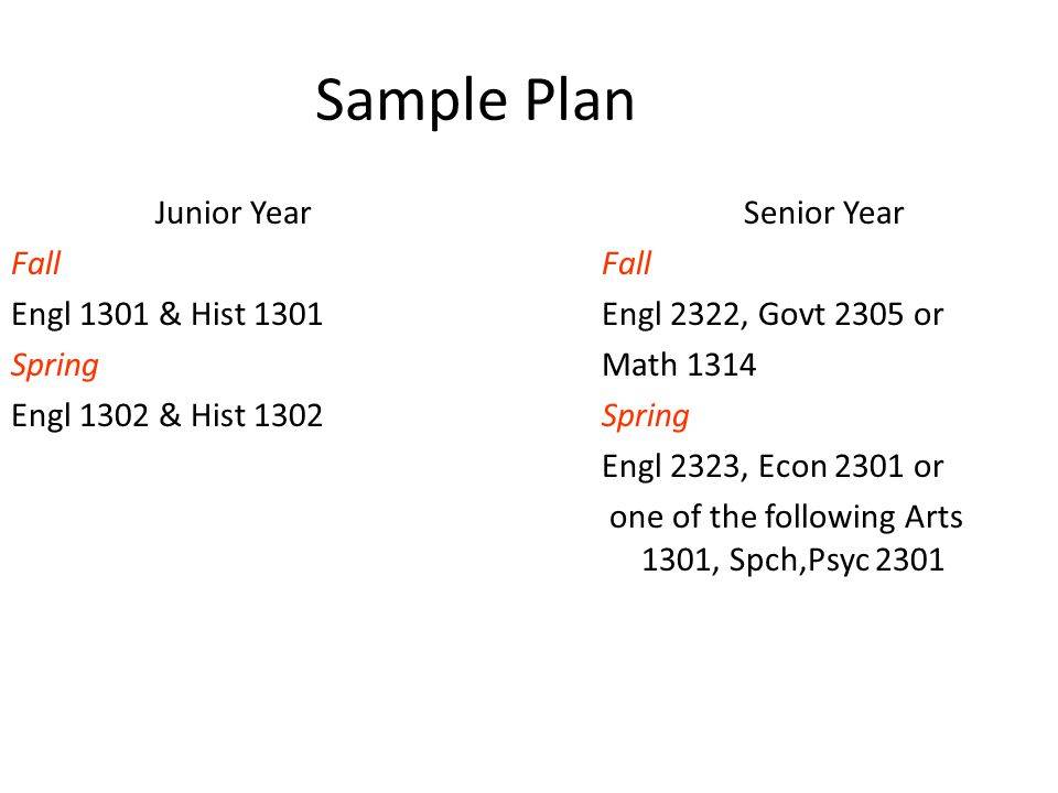 Sample Plan Junior Year Fall Engl 1301 & Hist 1301 Spring Engl 1302 & Hist 1302 Senior Year Fall Engl 2322, Govt 2305 or Math 1314 Spring Engl 2323, Econ 2301 or one of the following Arts 1301, Spch,Psyc 2301