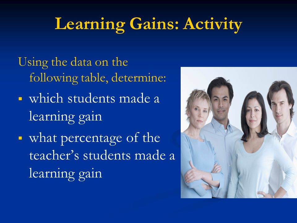 Learning Gains: Retainees A retained student can only be counted as making adequate progress if he/she: Moves up one level. (e.g. 1-2, 2-3, 3-4, 4-5)