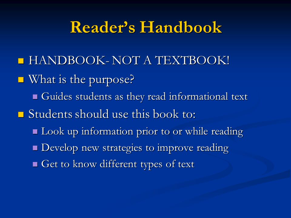 Reader's Handbook HANDBOOK- NOT A TEXTBOOK.HANDBOOK- NOT A TEXTBOOK.