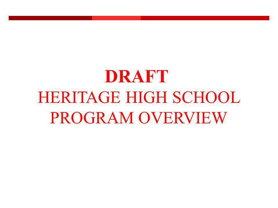DRAFT HERITAGE HIGH SCHOOL PROGRAM OVERVIEW