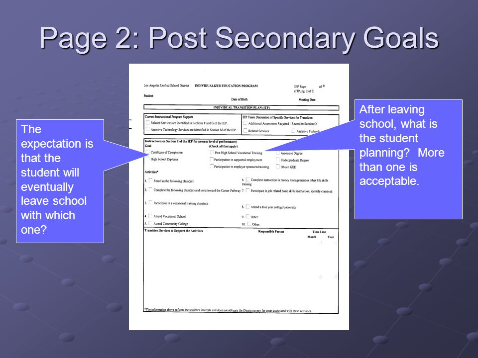 Page 2: Post Secondary Goals The expectation is that the student will eventually leave school with which one.