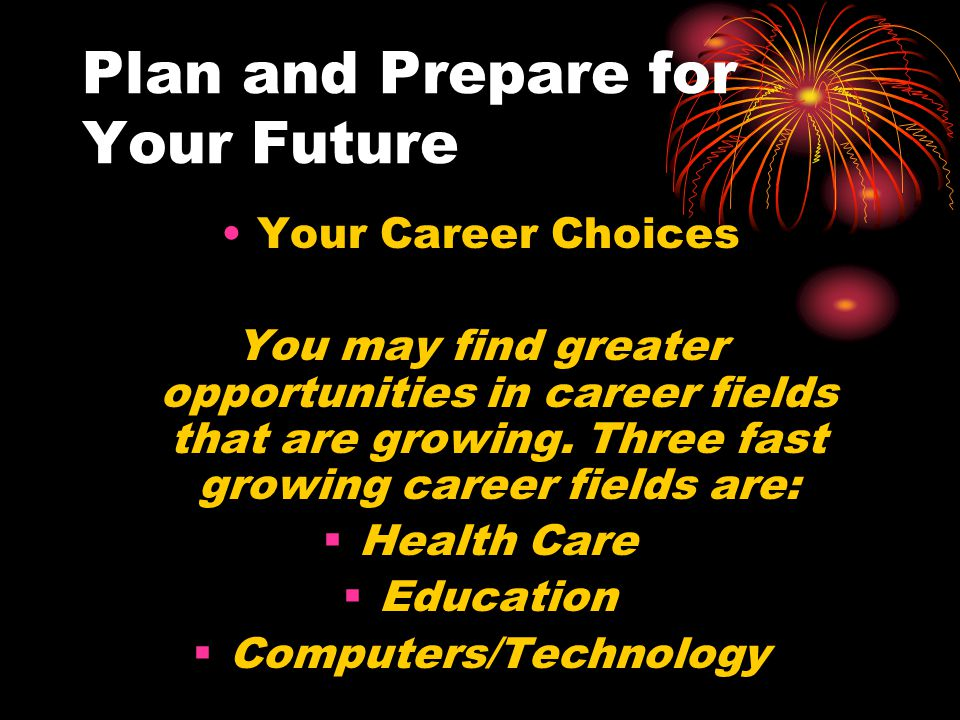 Plan and Prepare for Your Future Your Career Choices A number of books and web sites are out there to help students find a career that's right for you.