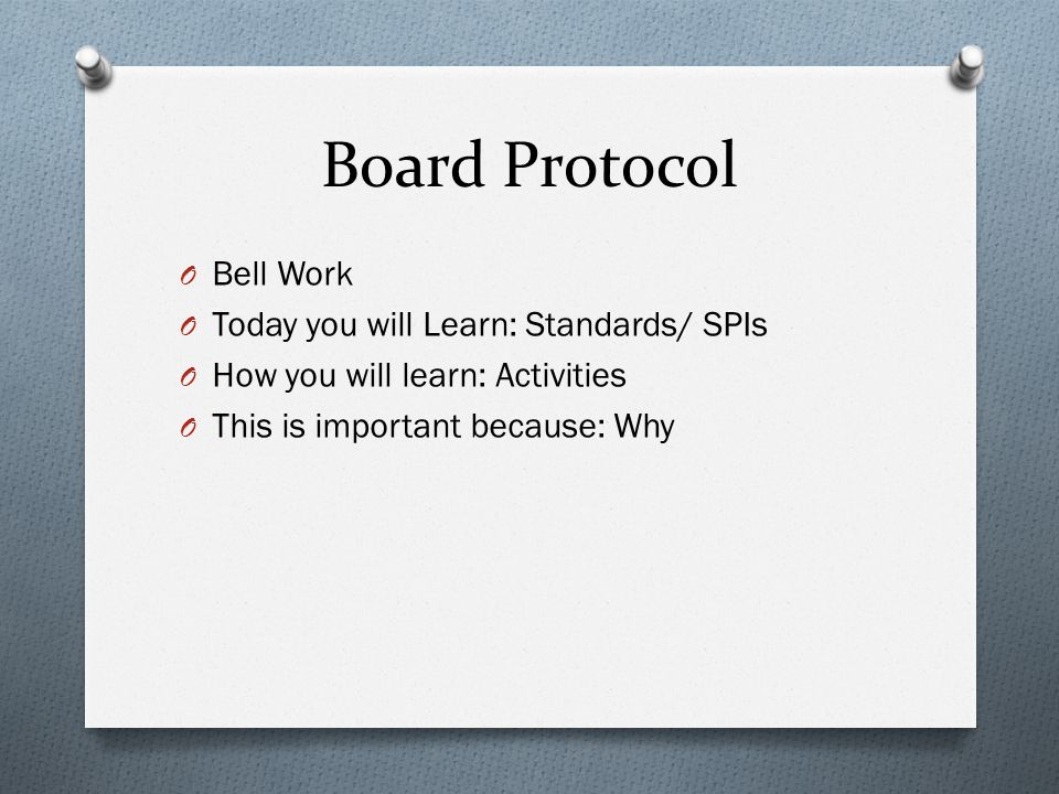 Board Protocol O Bell Work O Today you will Learn: Standards/ SPIs O How you will learn: Activities O This is important because: Why
