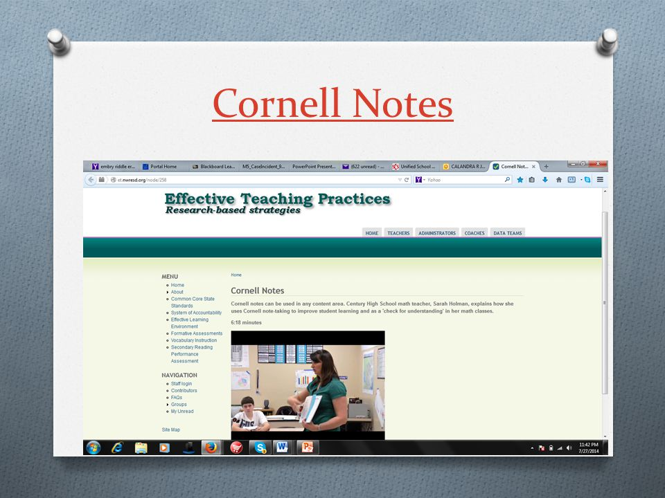 Cornell Notes O Utilize Cornell Notes