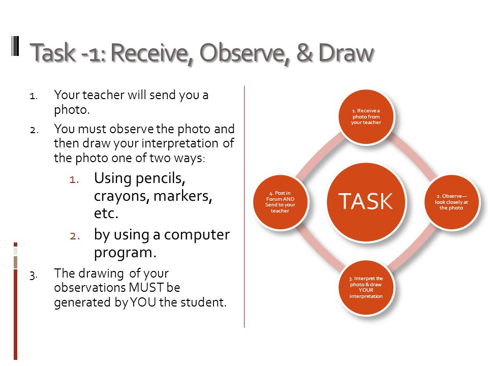 Task -1: Receive, Observe, & Draw 1. Your teacher will send you a photo.