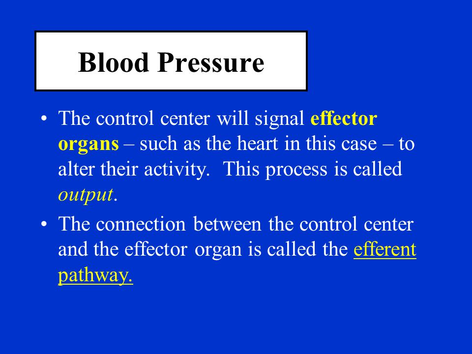 Blood Pressure The control center will signal effector organs – such as the heart in this case – to alter their activity. This process is called outpu