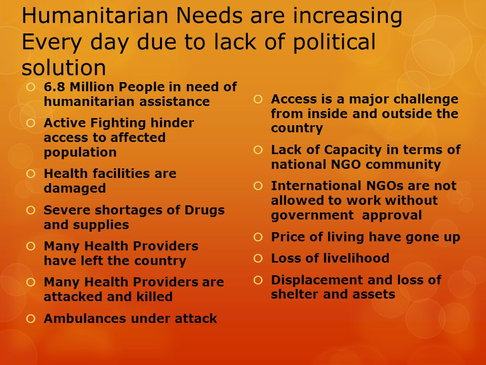Humanitarian Needs are increasing Every day due to lack of political solution  6.8 Million People in need of humanitarian assistance  Active Fightin