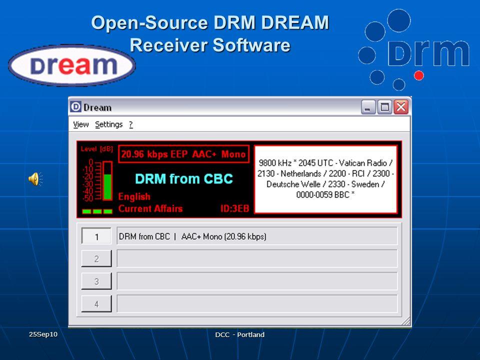 25Sep10 DCC - Portland Open-Source DRM DREAM Receiver Software