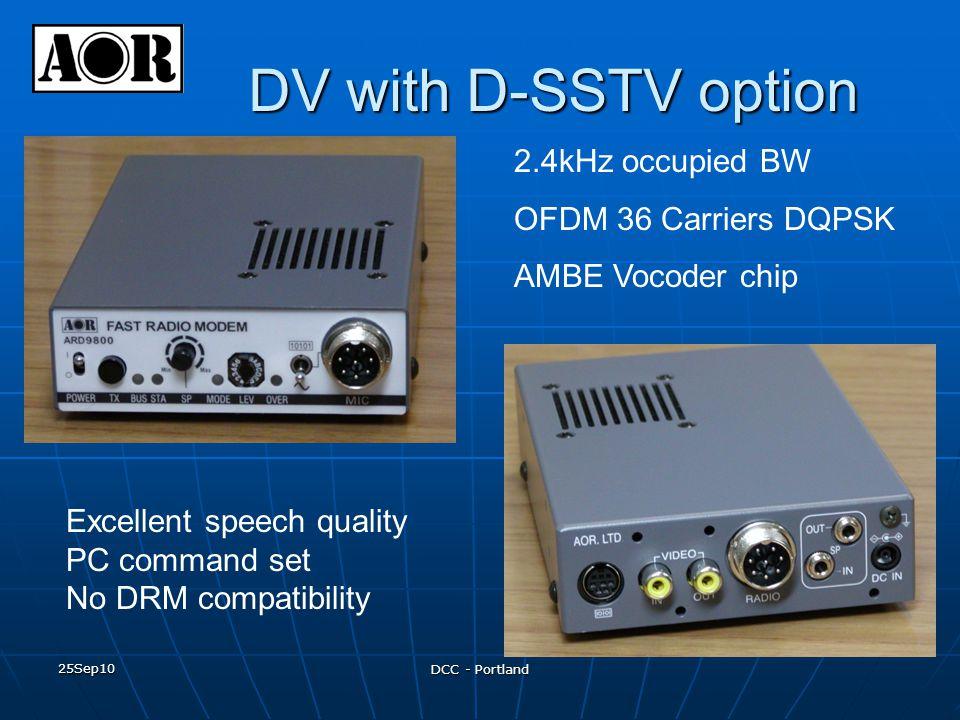 25Sep10 DCC - Portland DV with D-SSTV option 2.4kHz occupied BW OFDM 36 Carriers DQPSK AMBE Vocoder chip Excellent speech quality PC command set No DR