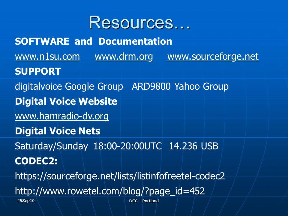 25Sep10 DCC - PortlandResources… SOFTWARE and Documentation www.n1su.comwww.n1su.com www.drm.org www.sourceforge.netwww.drm.orgwww.sourceforge.net SUP