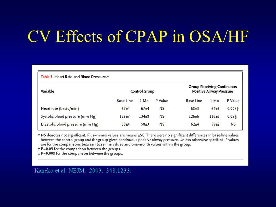 CV Effects of CPAP in OSA/HF Kaneko et al. NEJM. 2003. 348:1233.