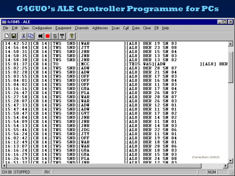 ALE : Automatic Link Establishment  ALE scans and tests sets of frequencies – usually in several bands - for a particular path or net until it finds