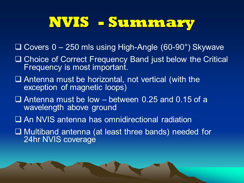 Useful websites connected with NVIS  http://www.ukssdc.ac.uk/ionosondes/view_latest.html Chilton, UK Ionosonde –the nearest Real-Time Ionogram for fo