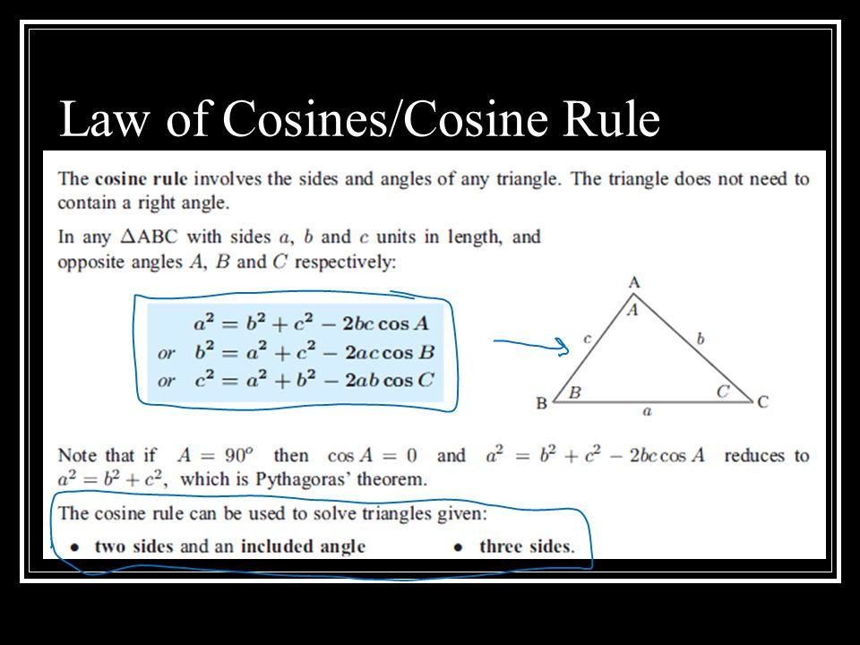 Law of Cosines/Cosine Rule