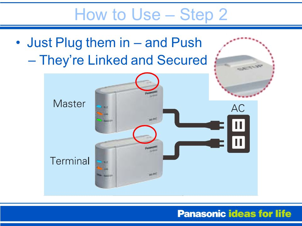 How to Use – Step 2 Just Plug them in– and Push – They're Linked and Secured