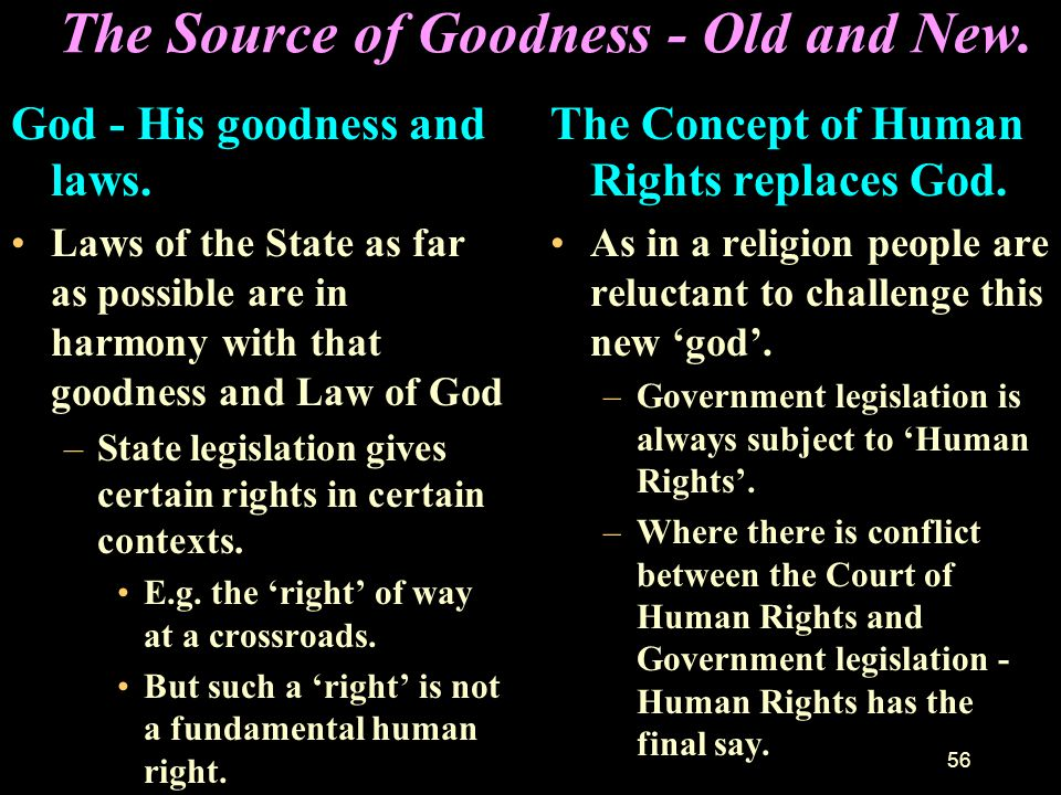 55 Human Society - its Source of Goodness and Righteousness. Goodness is the character of God shown, not primarily in a list of rules, but in His deep