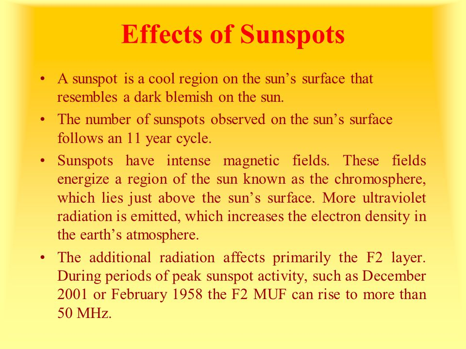 Effects of Sunspots A sunspot is a cool region on the sun's surface that resembles a dark blemish on the sun. The number of sunspots observed on the s