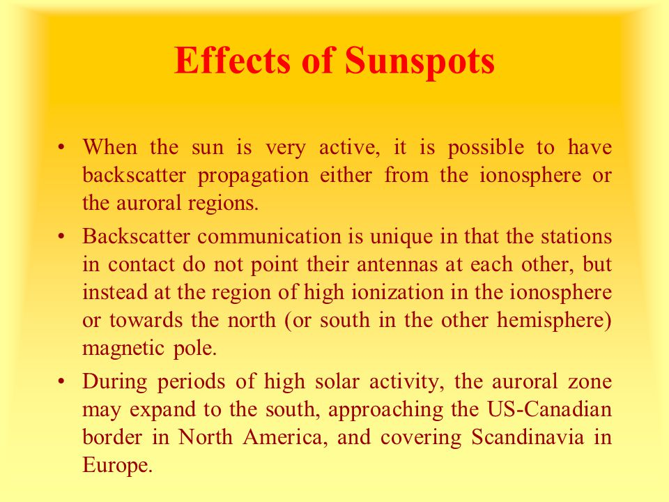 Effects of Sunspots When the sun is very active, it is possible to have backscatter propagation either from the ionosphere or the auroral regions. Bac